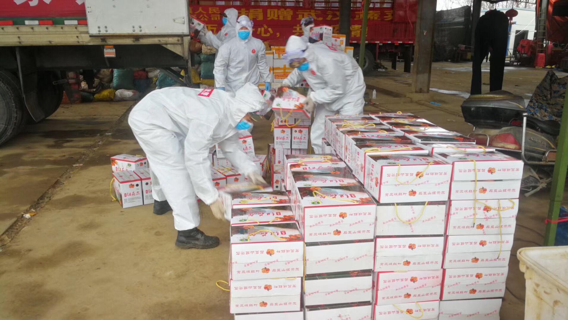 重庆市巫山县团委捐赠的25吨橙子到达孝感
